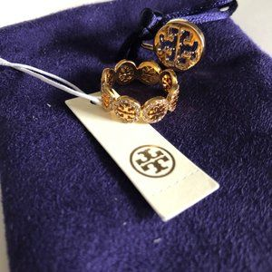 Tory Burch Gold Circle Swarovski Pave Ring